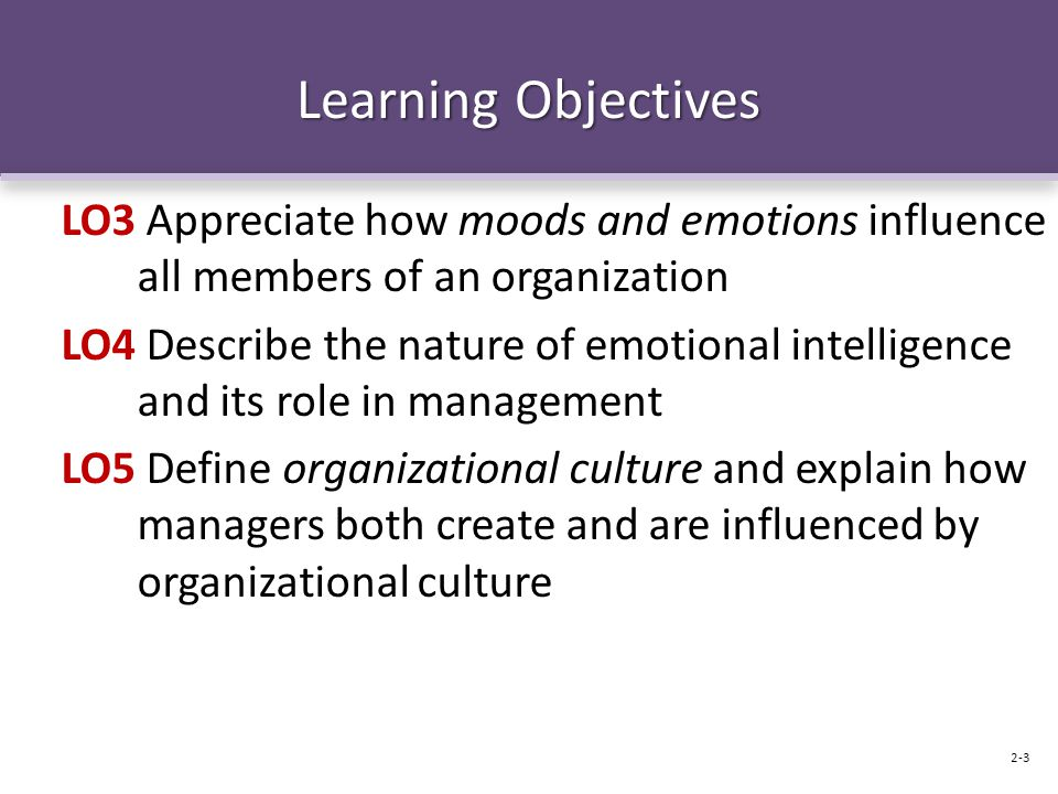 Learning Objectives LO3 Appreciate how moods and emotions influence all members of an organization.
