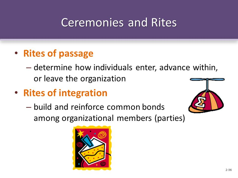 Ceremonies and Rites Rites of passage Rites of integration