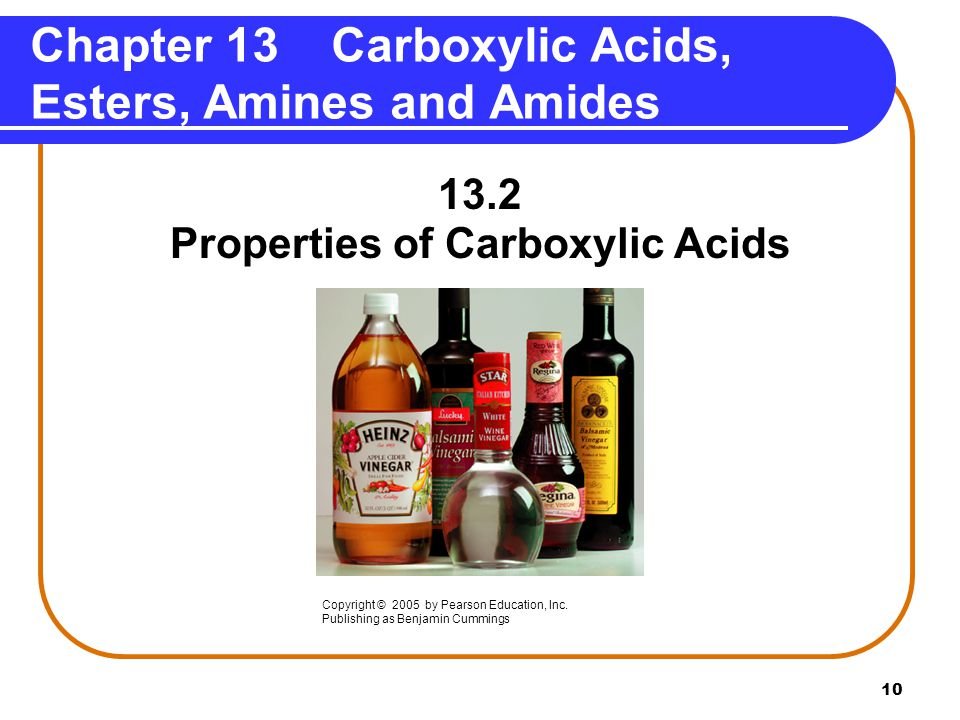 Chapter 13 Carboxylic Acids, Esters, Amines and Amides