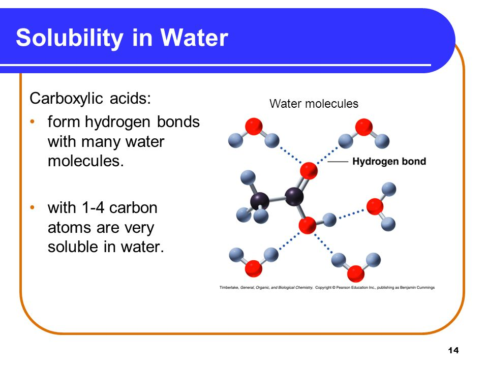 Solubility in Water Carboxylic acids:
