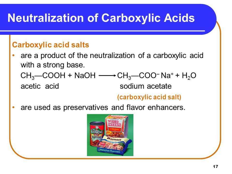 Neutralization of Carboxylic Acids