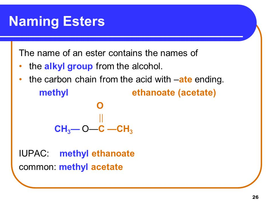 Naming Esters The name of an ester contains the names of