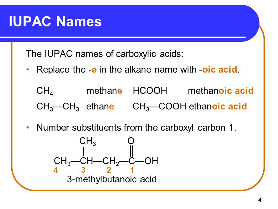 IUPAC Names The IUPAC names of carboxylic acids: