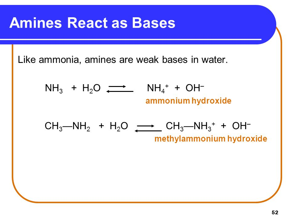 Amines React as Bases Like ammonia, amines are weak bases in water.