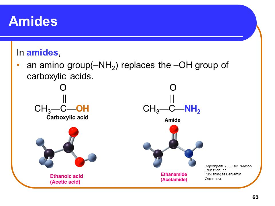Amides In amides, an amino group(–NH2) replaces the –OH group of carboxylic acids. O O.