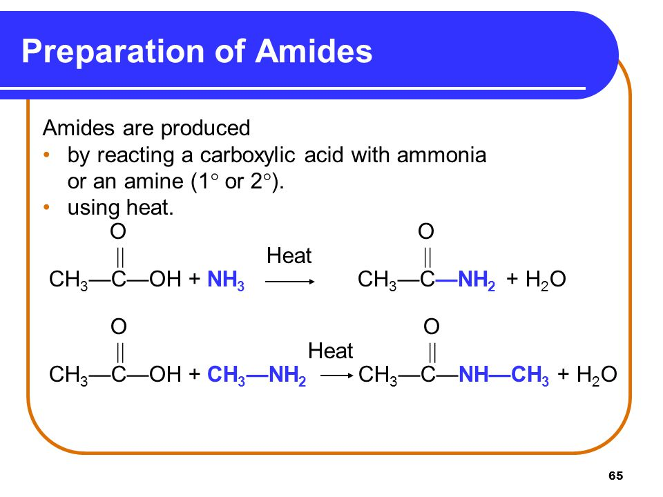Preparation of Amides Amides are produced
