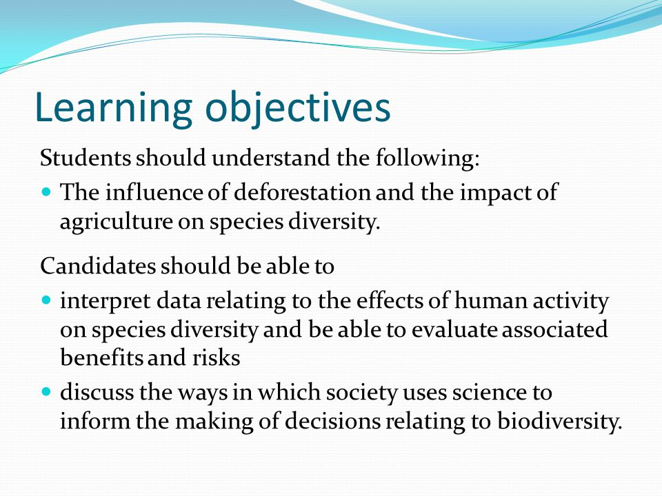 Learning objectives Students should understand the following: