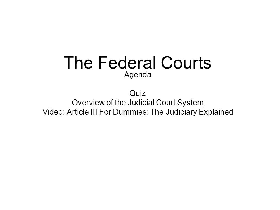 The Federal Courts Agenda Quiz Overview of the Judicial Court System