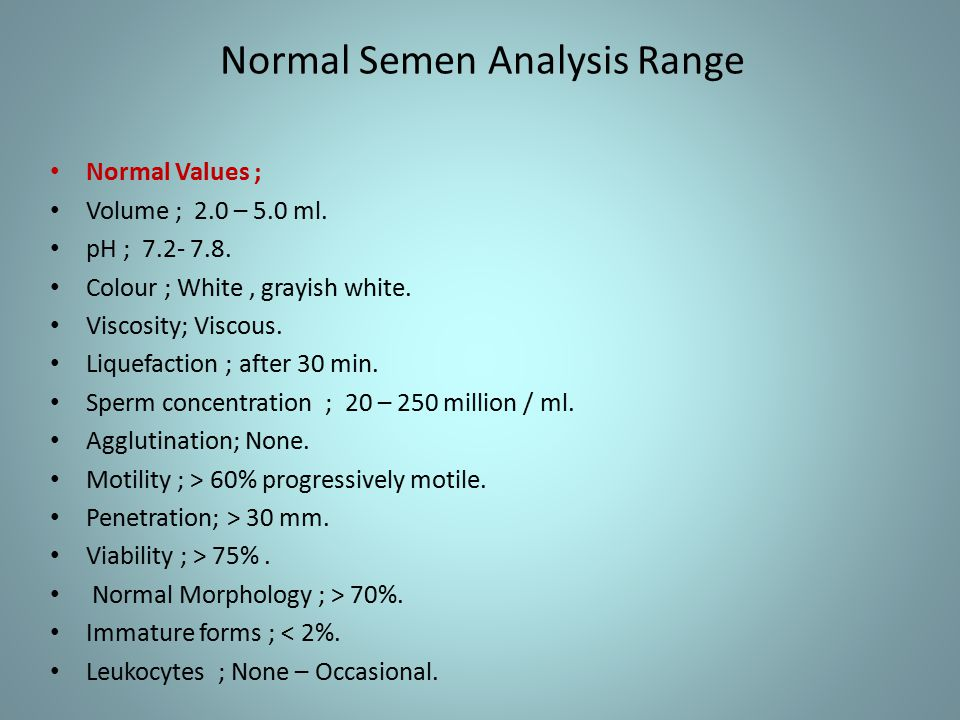 sperm analysis normal semen volume