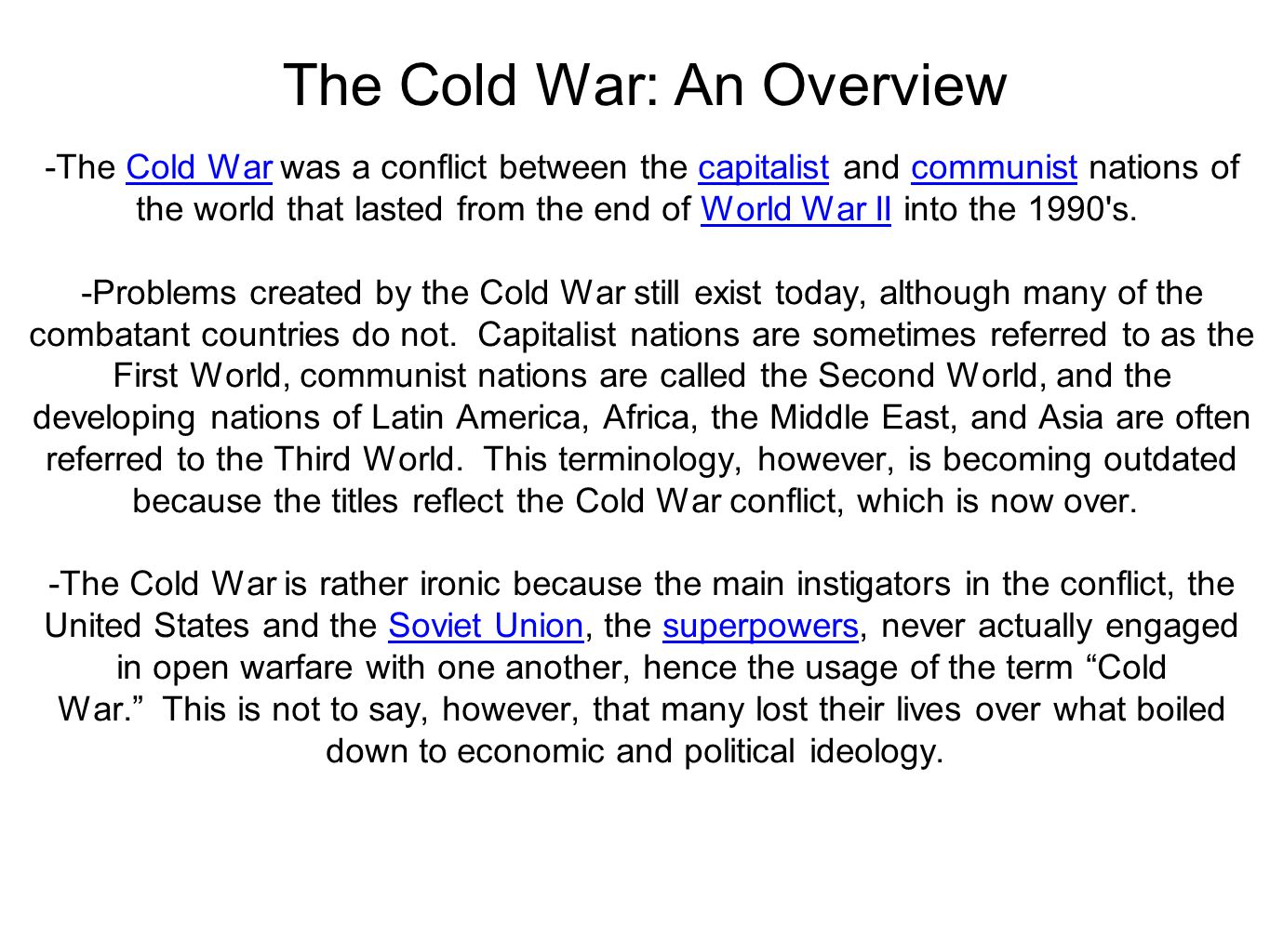 the cold war and ideological differences between the east and the west