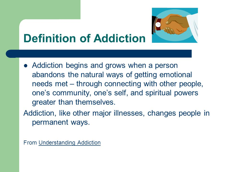 definition of addiction The definition of addiction is compulsive drug seeking and use, even in the face of negative health and social consequences it's progressive, chronic and characterized by relapse.