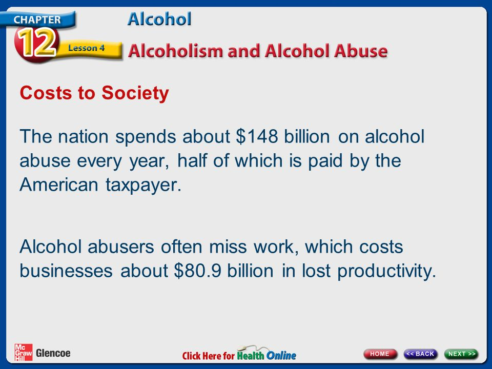 Costs to Society The nation spends about $148 billion on alcohol abuse every year, half of which is paid by the American taxpayer.