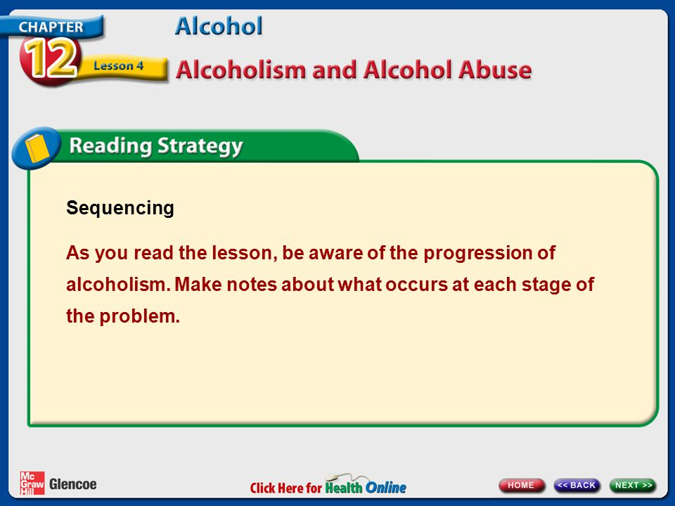 Sequencing As you read the lesson, be aware of the progression of alcoholism.