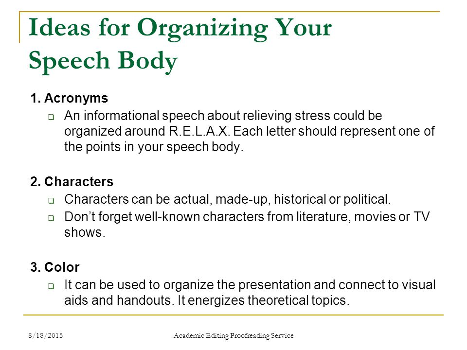 informational speech ideas What are some good topics for a 5-7 minute speech what kind of speech is this supposed to be informative it's hard to tell you the top speech ideas.