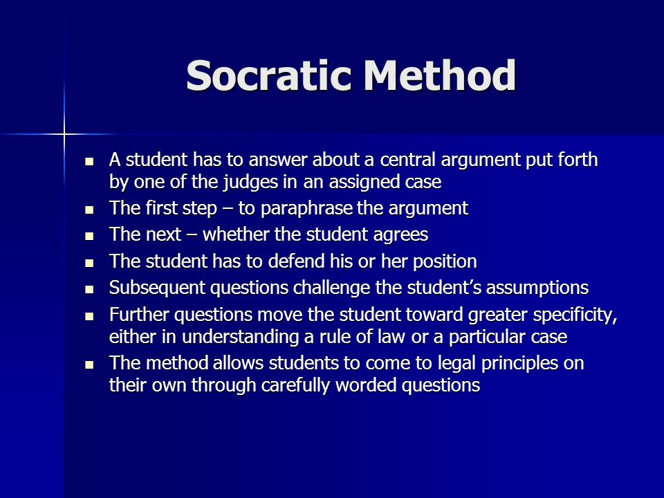 a summary of the socratic method Sophist or socratic teaching methods in fostering learning in us graduate education unlike the sophists, the term socratic method is well-known within certain summary although, there.