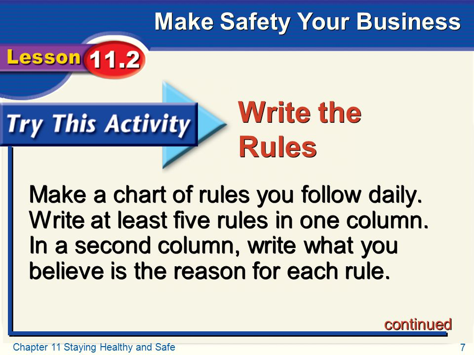 Try This Activity Write the Rules.