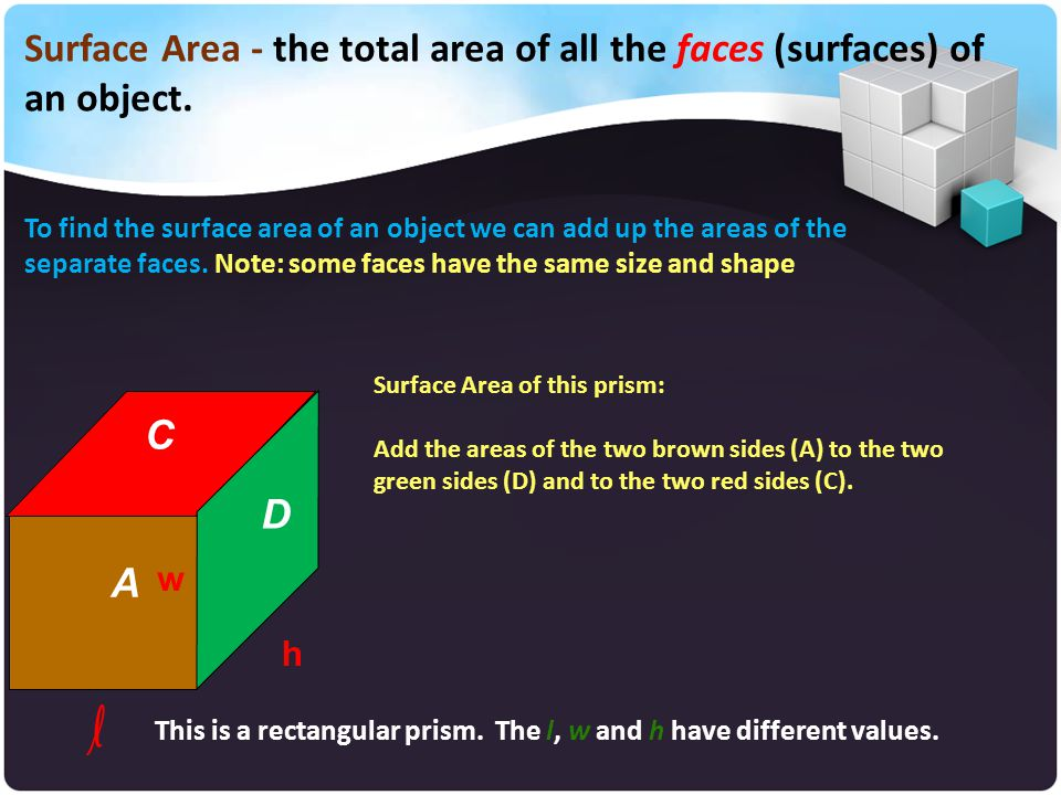 Surface Area - the total area of all the faces (surfaces) of an object.