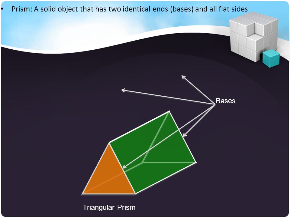 Prism: A solid object that has two identical ends (bases) and all flat sides