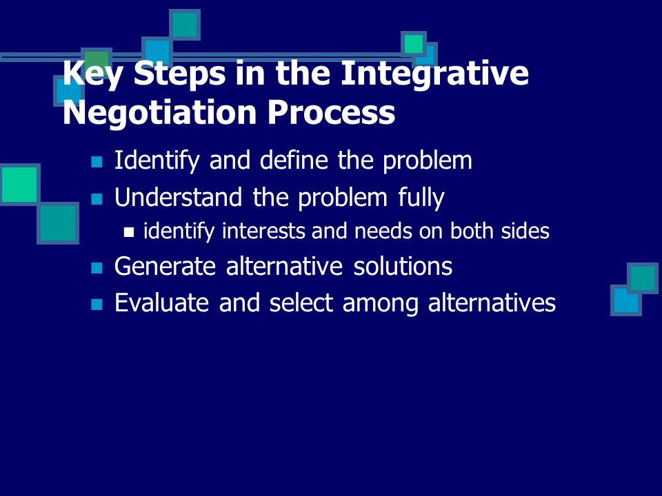 generating alternative strategies The search for alternative is the creative phase of the integrative negotiation once the parties have agreed on a common definition of the problem and understood each others interests, they need to generate a variety of alternative solution.