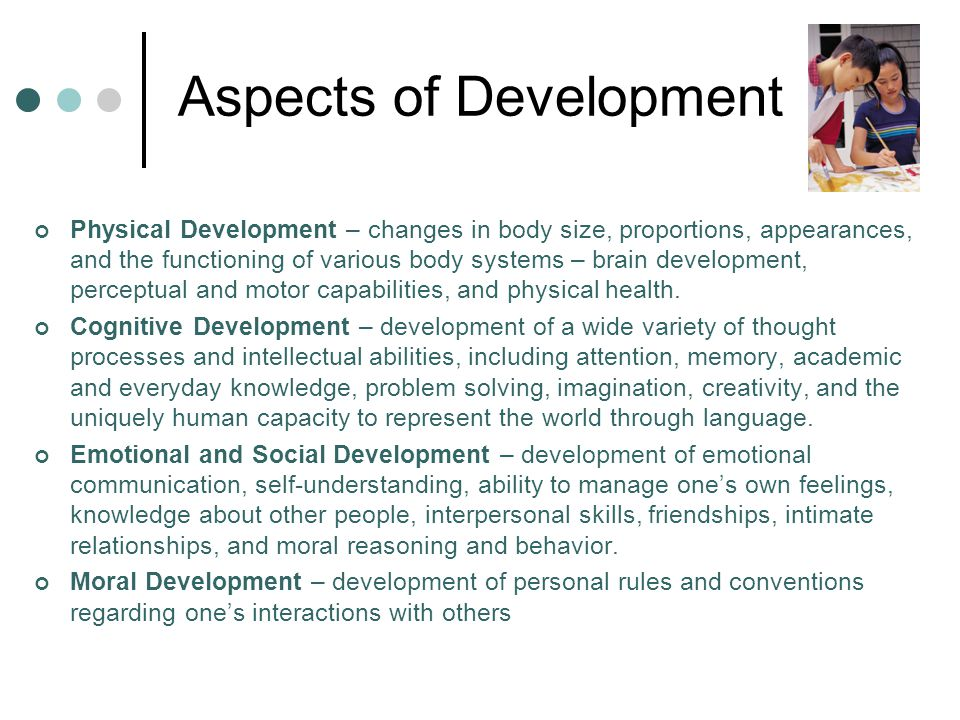 aspects of child development Here is a list of references on child development theorists  plays an important  role in the child's development, particularly in terms of the social aspects.