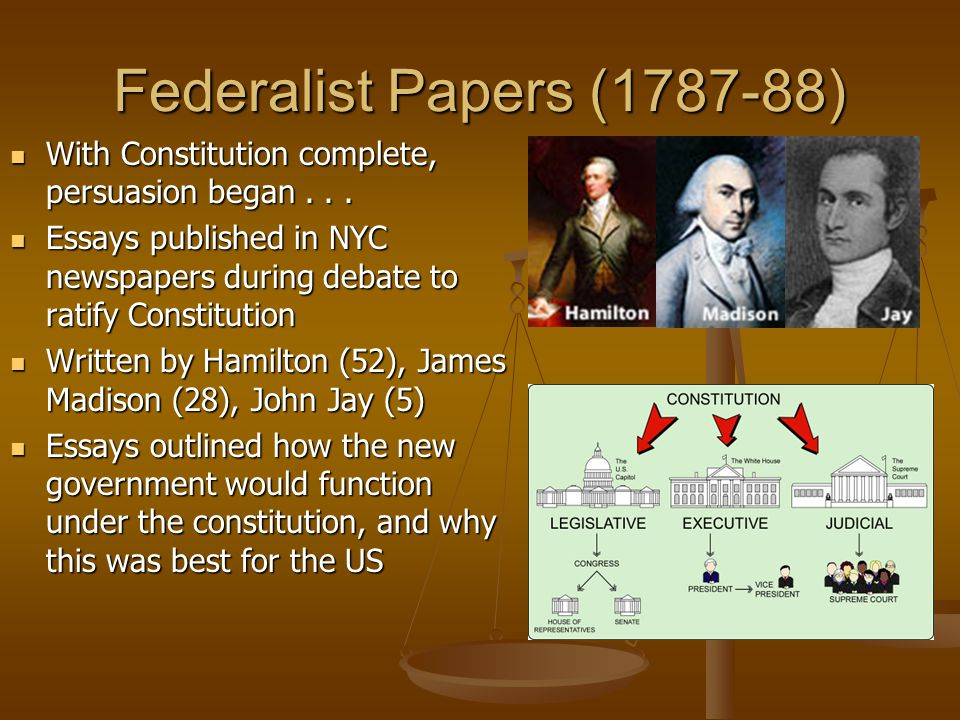 name two authors of the federalist papers Anti-federalist papers is the collective name given to works written by the founding two main competing unlike the authors of the federalist papers.