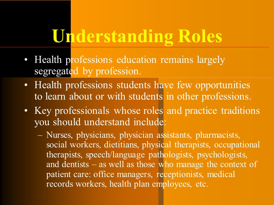 Understanding Roles Health professions education remains largely segregated by profession.