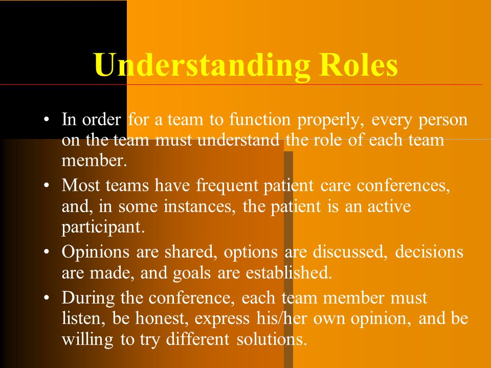 Understanding Roles In order for a team to function properly, every person on the team must understand the role of each team member.