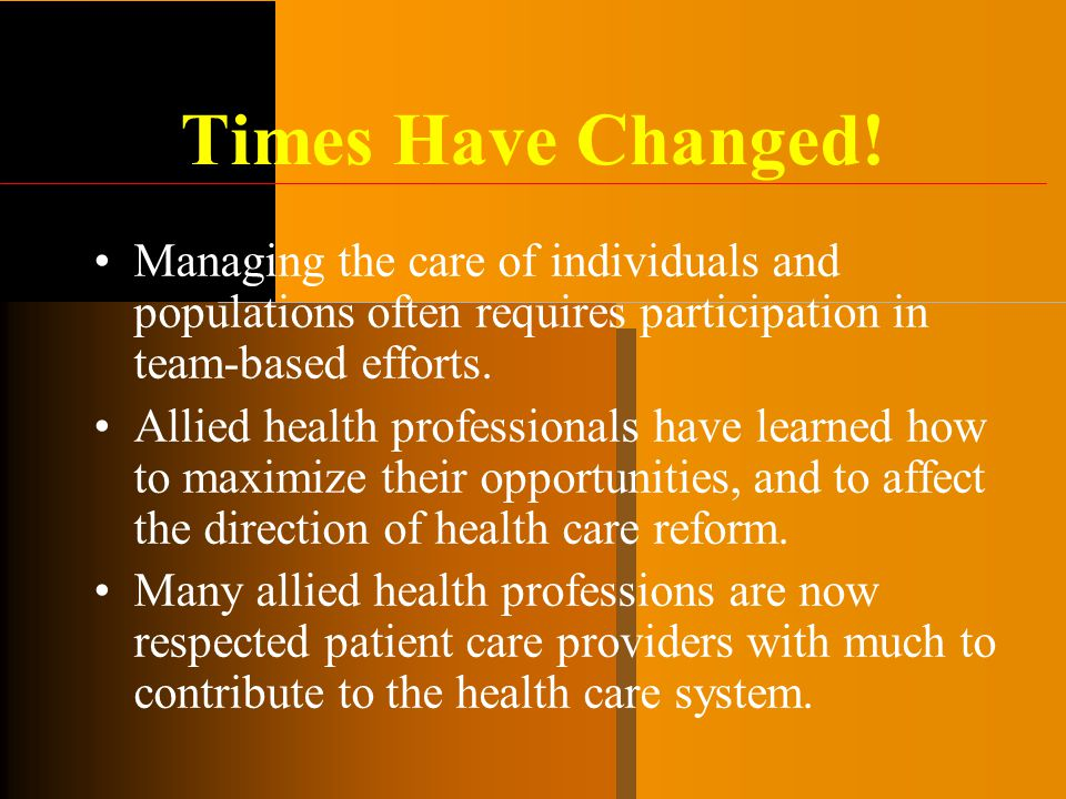 Times Have Changed! Managing the care of individuals and populations often requires participation in team-based efforts.