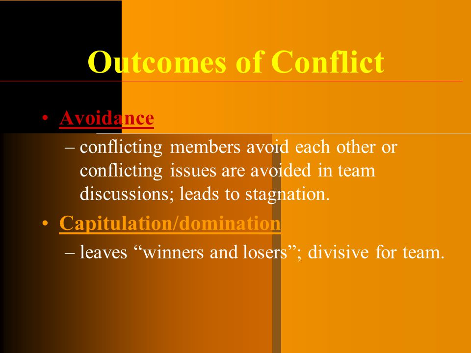 Outcomes of Conflict Avoidance Capitulation/domination