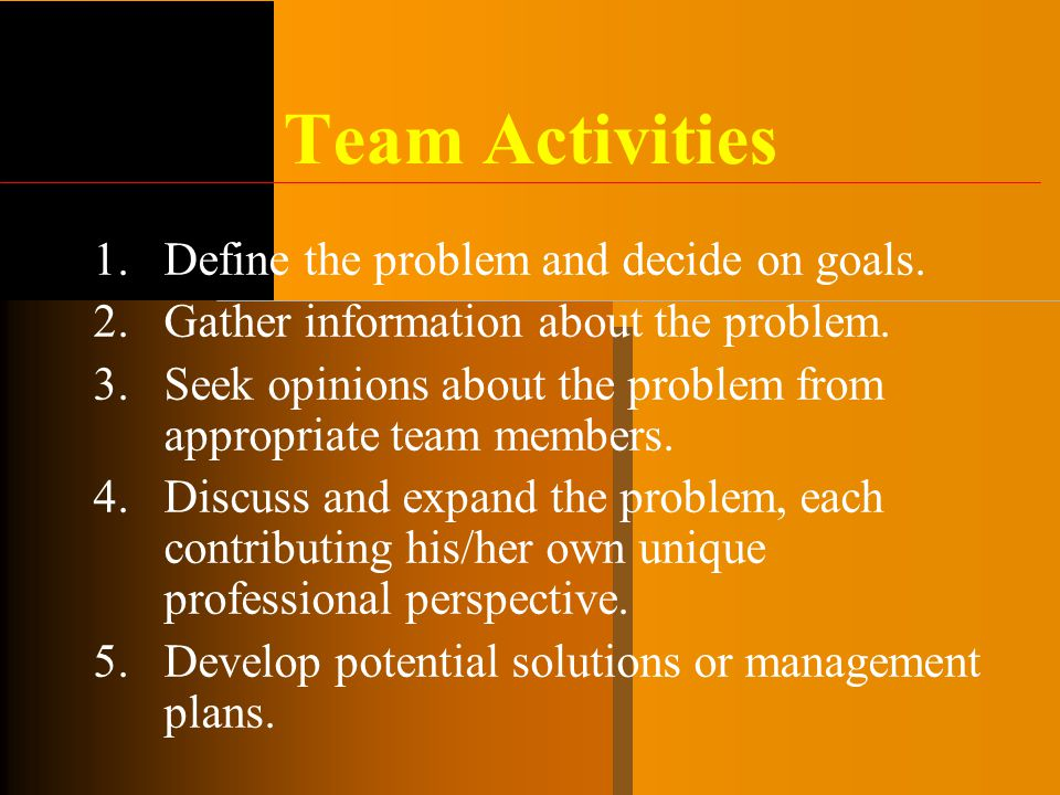 Team Activities Define the problem and decide on goals.