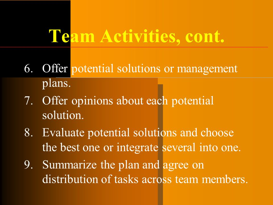 Team Activities, cont. Offer potential solutions or management plans.