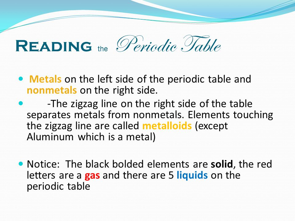 Unit 3 the periodic table ppt video online download reading the periodic table urtaz Image collections