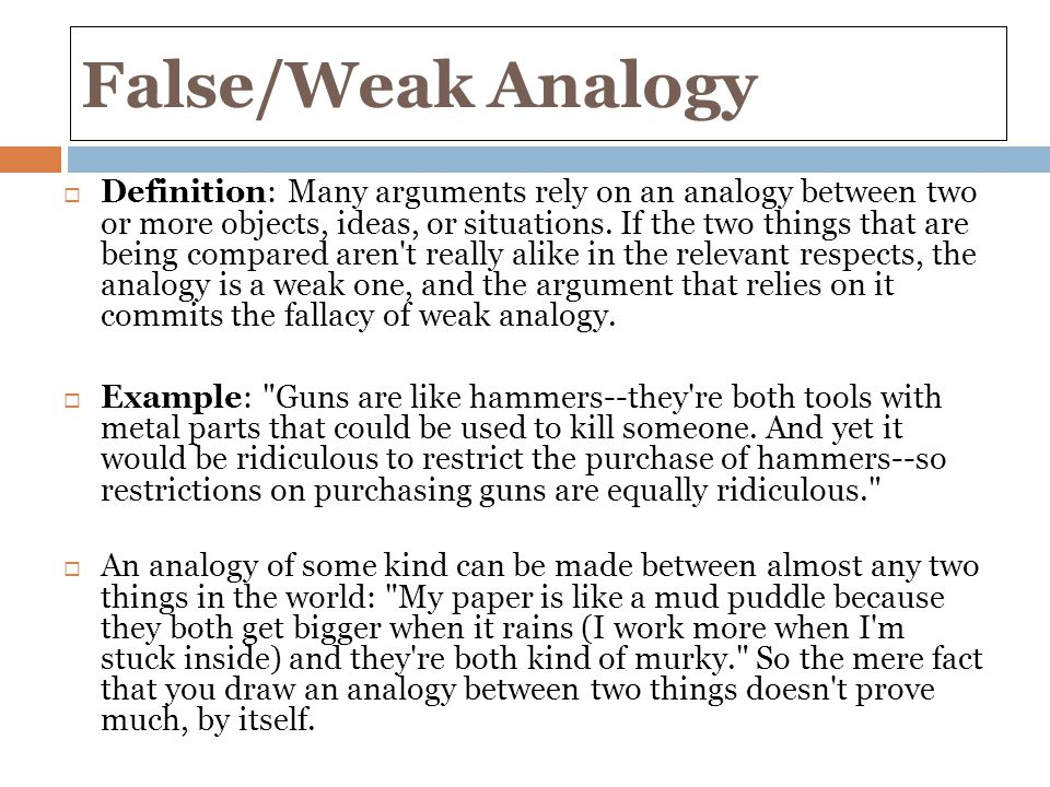 how to avoid weak analogy fallacy