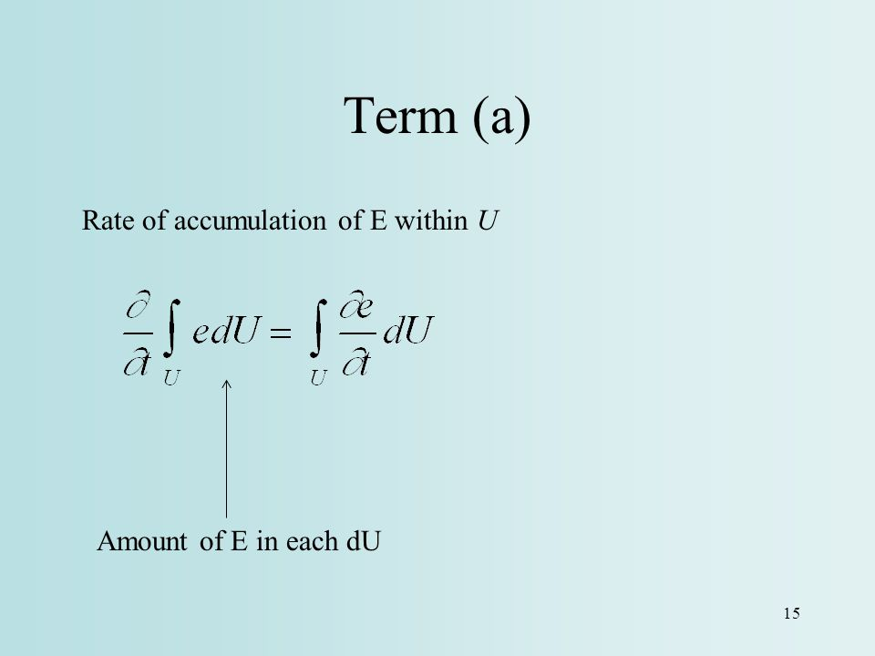 Term (a) Rate of accumulation of E within U Amount of E in each dU