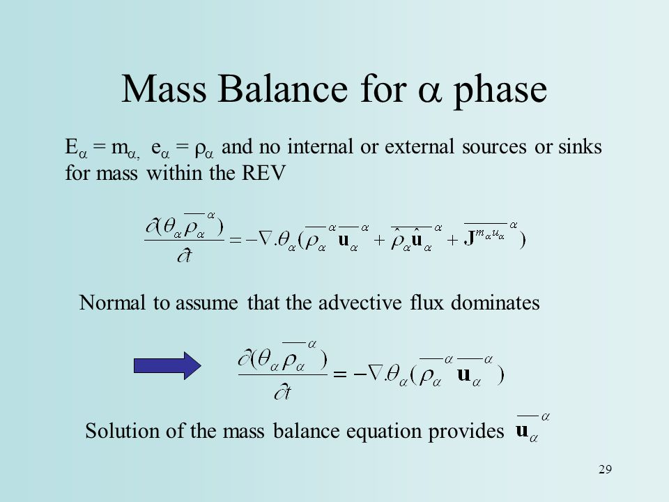 Mass Balance for a phase