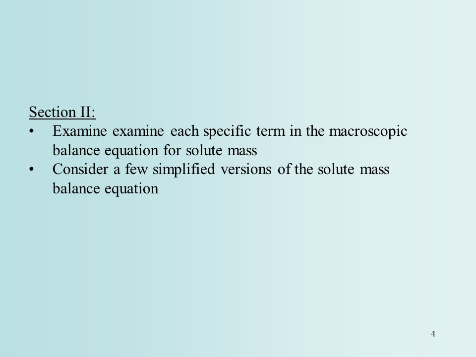 Section II: Examine examine each specific term in the macroscopic balance equation for solute mass.