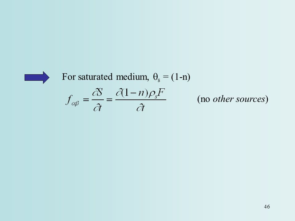 For saturated medium, qs = (1-n)