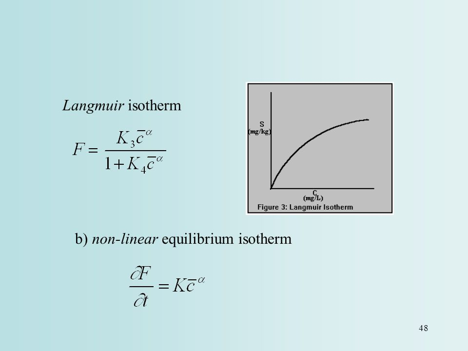 Langmuir isotherm b) non-linear equilibrium isotherm