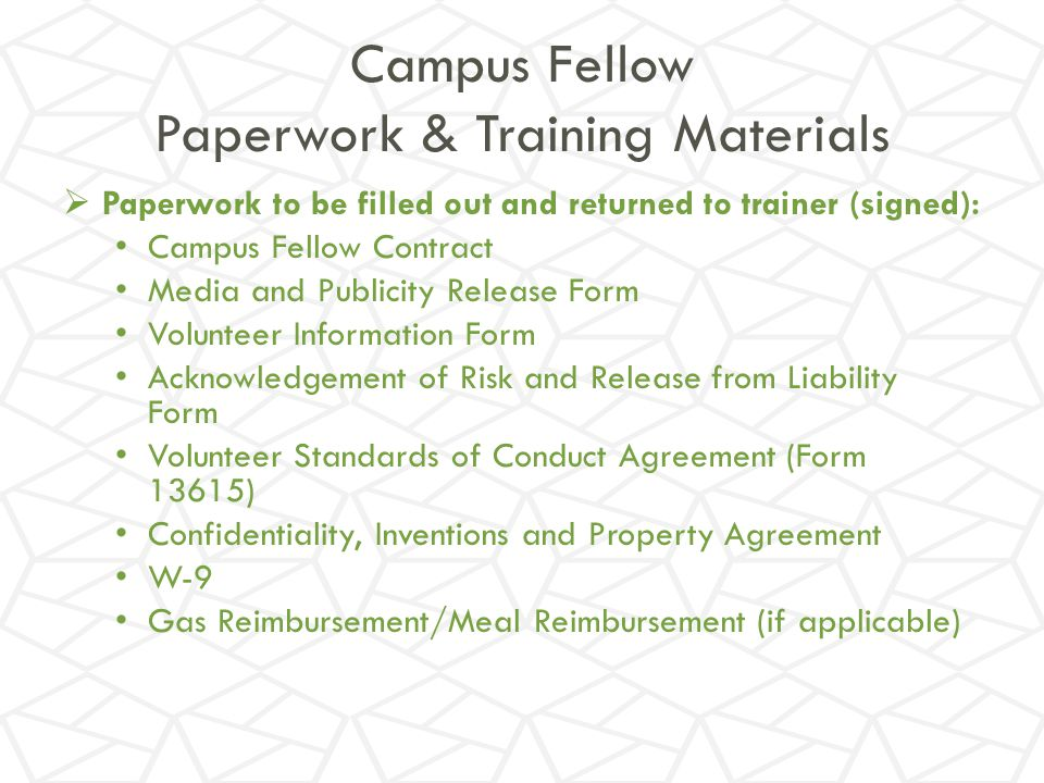 Campus Fellow Paperwork & Training Materials - Ppt Download
