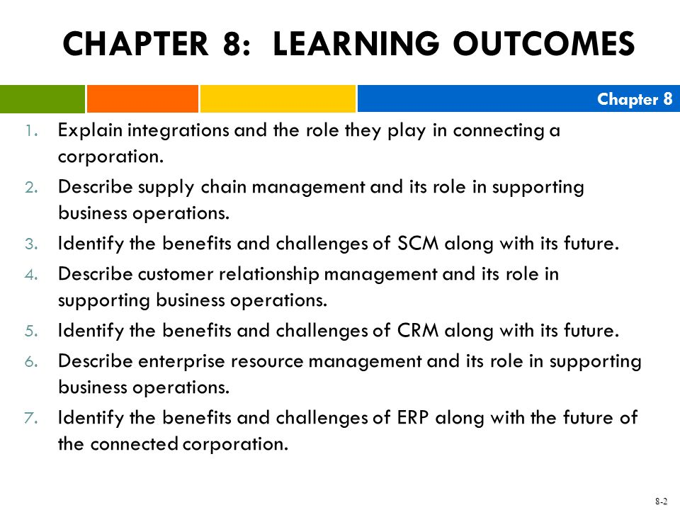 CHAPTER 8: LEARNING OUTCOMES