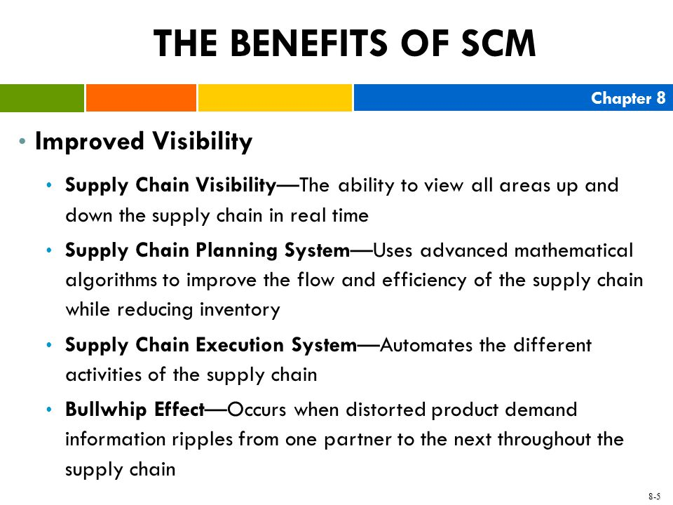 THE BENEFITS OF SCM Improved Visibility