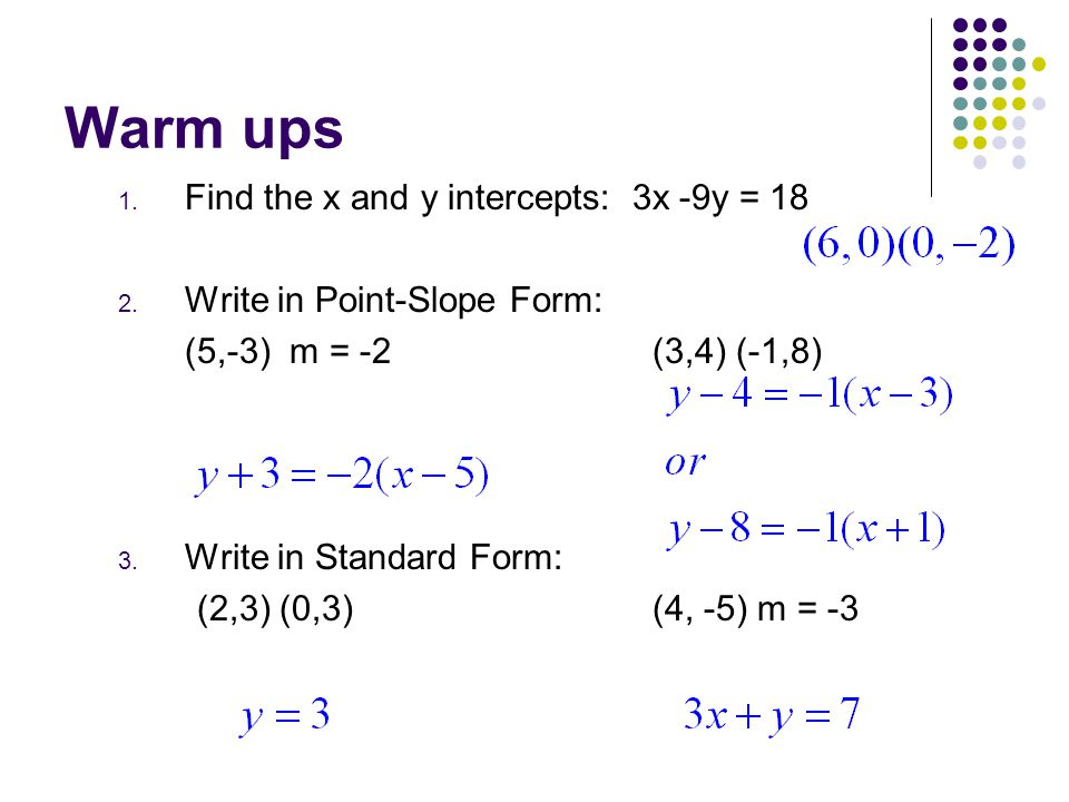 standard form x and y intercepts  Warm ups Find the x and y intercepts: 8x -8y = ppt video ...