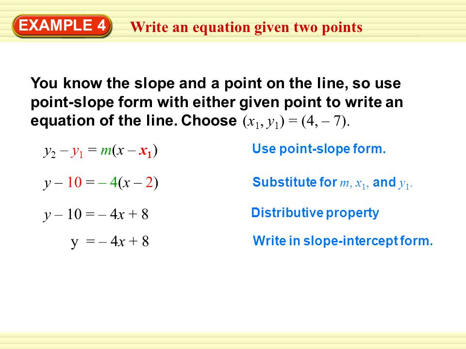 EXAMPLE 4 Write an equation given two points - ppt download