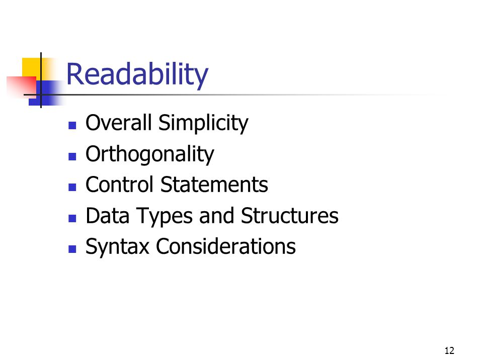 Readability Overall Simplicity Orthogonality Control Statements