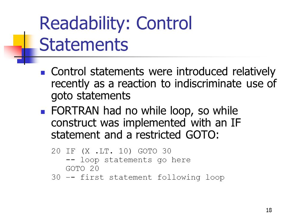 Readability: Control Statements