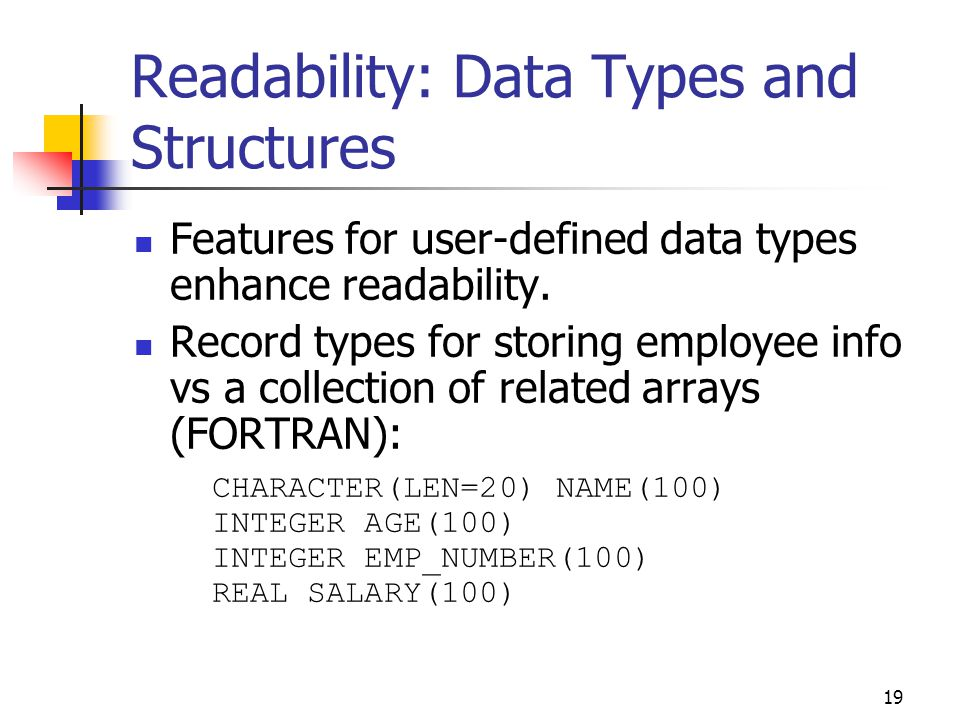 Readability: Data Types and Structures
