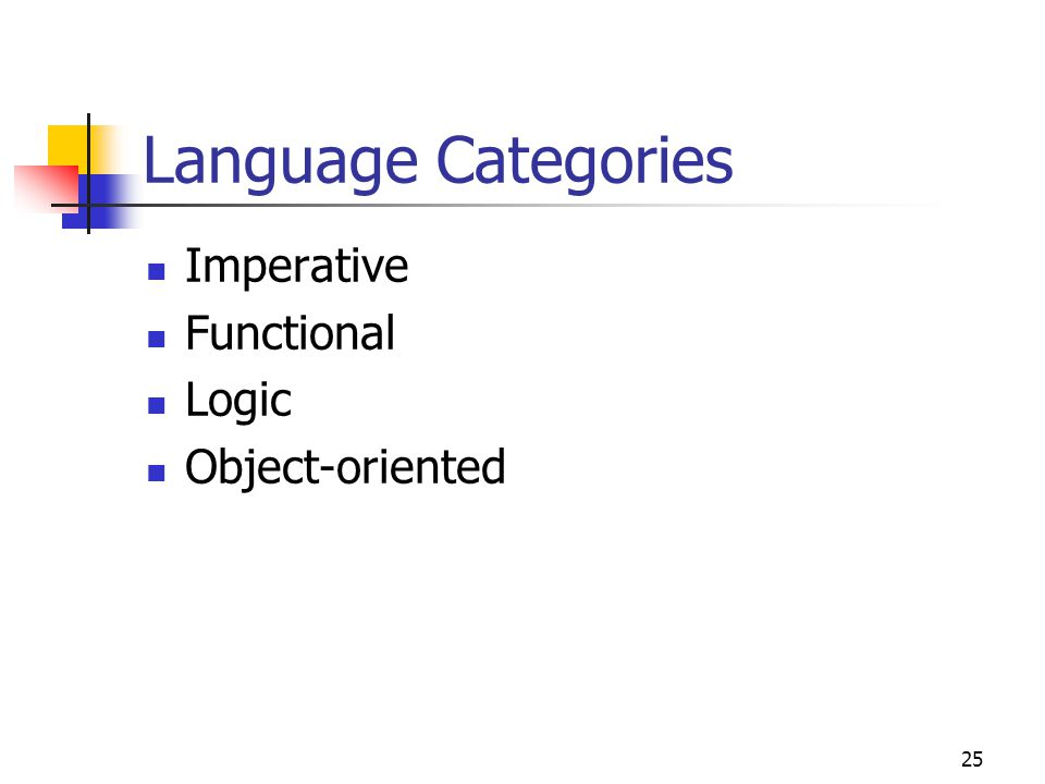 Language Categories Imperative Functional Logic Object-oriented