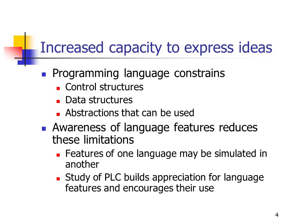 Increased capacity to express ideas