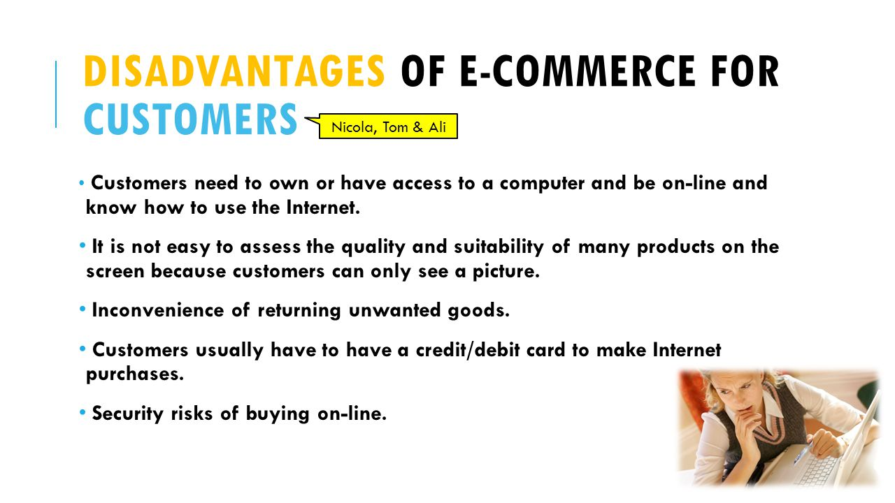 Disadvantages of e-commerce for customers