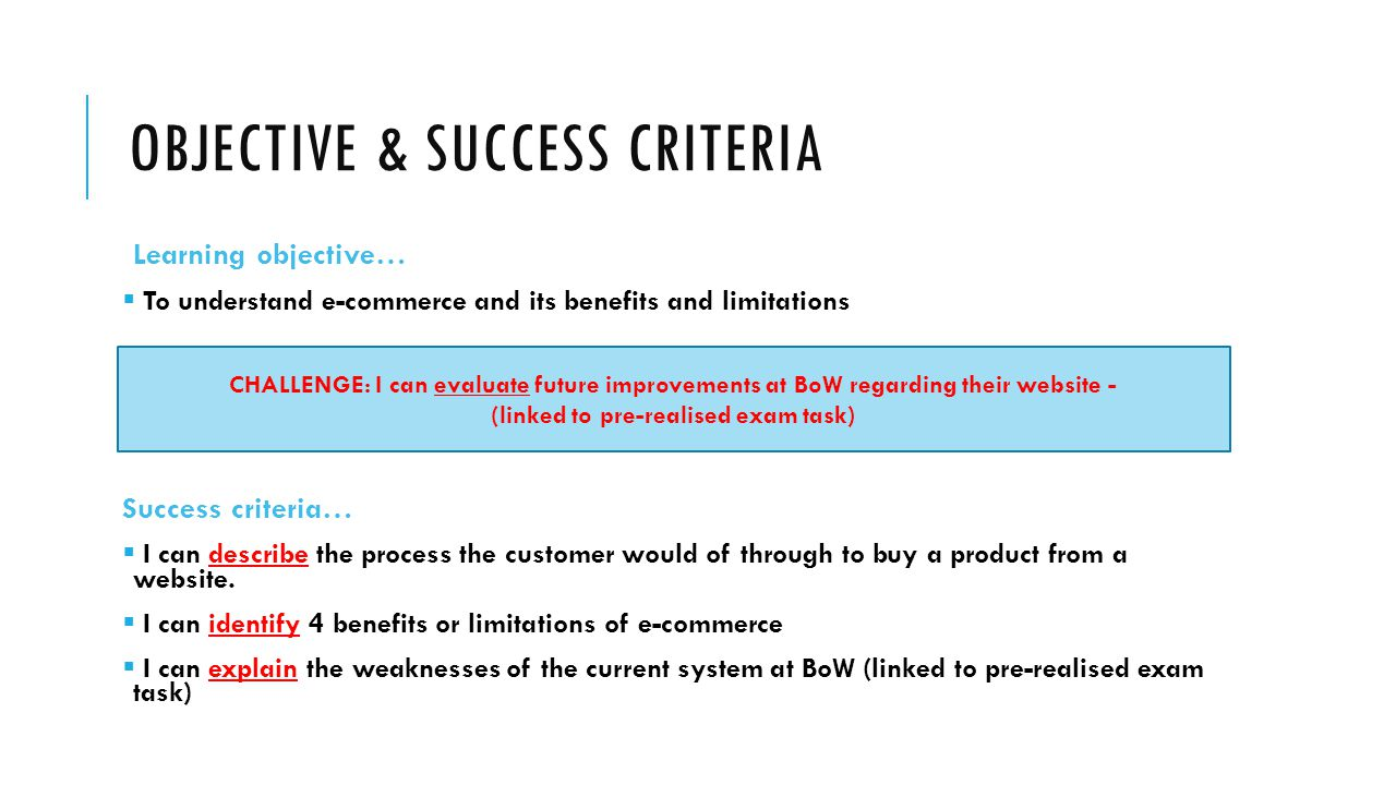 Objective & Success Criteria